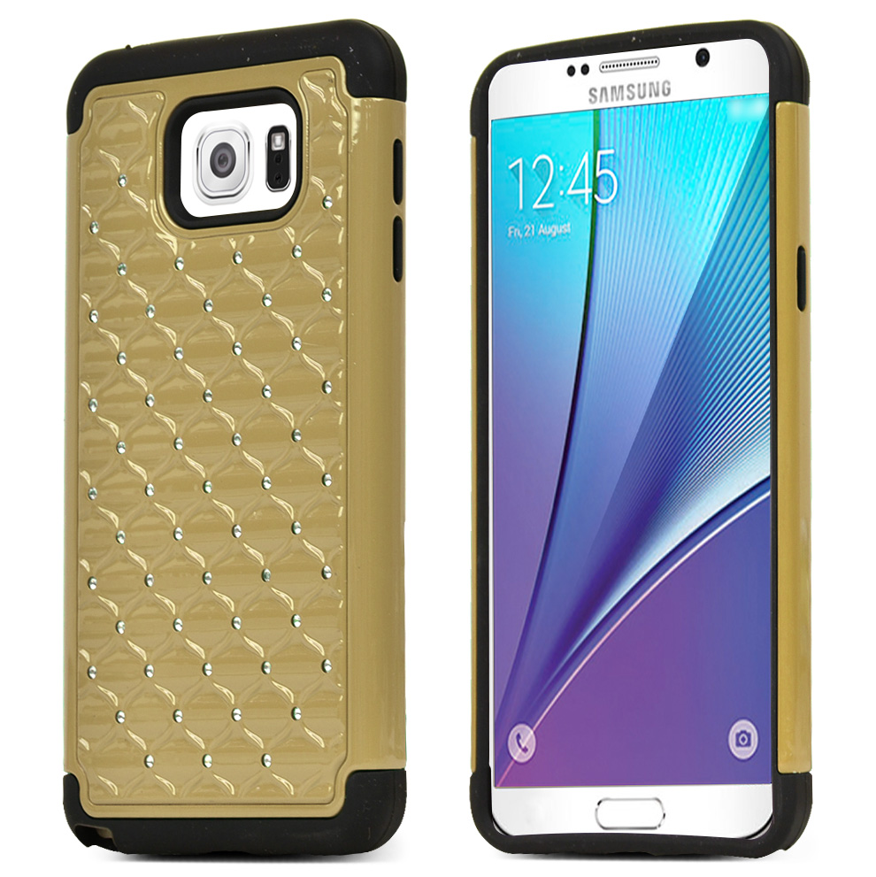 Samsung Galaxy Note 5, [Gold/ Black Bling]  Supreme Protection Bling Plastic on Silicone Dual Layer Hybrid Case