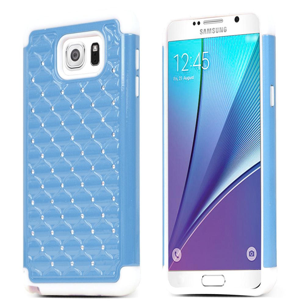 Samsung Galaxy Note 5, [Light Blue/ White Bling]  Supreme Protection Bling Plastic on Silicone Dual Layer Hybrid Case