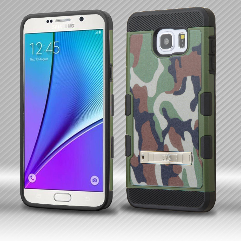 Samsung Galaxy Note 5 Case, TUFF Trooper Dual Layer Hard Cover Case on TPU Skin w/ Kickstand [Green Classic Camouflage]