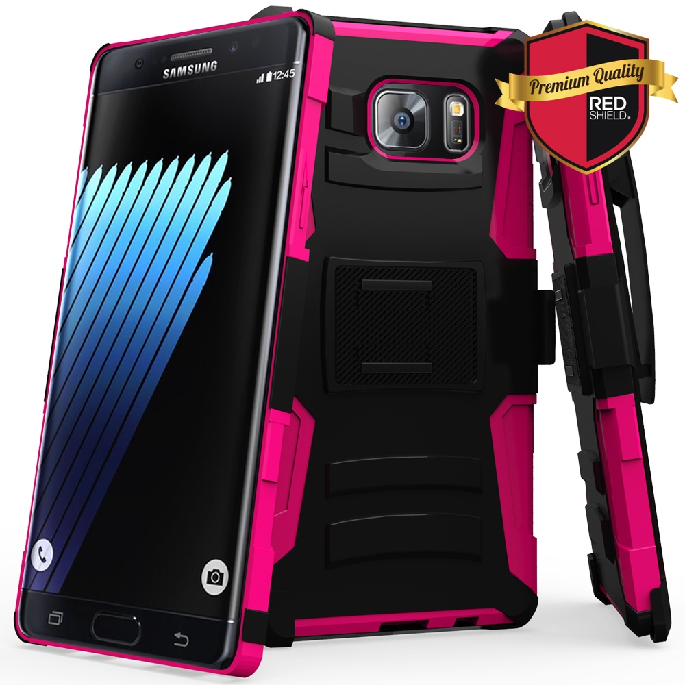 Samsung Galaxy Note 7 Holster Case, REDshield [Hot Pink] Supreme Protection Hard Plastic on Silicone Skin Dual Layer Hybrid Case