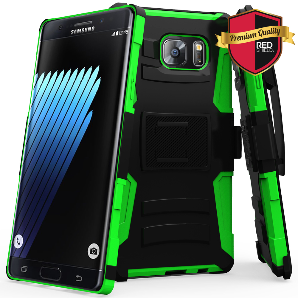 Samsung Galaxy Note 7 Holster Case, REDshield [Neon Green] Supreme Protection Hard Plastic on Silicone Skin Dual Layer Hybrid Case
