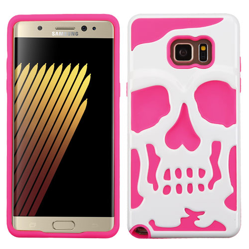 Samsung Galaxy Note 7 Case, Skull Hybrid Dual Layer Hard Case on Silicone Skin [Hot Pink on White]