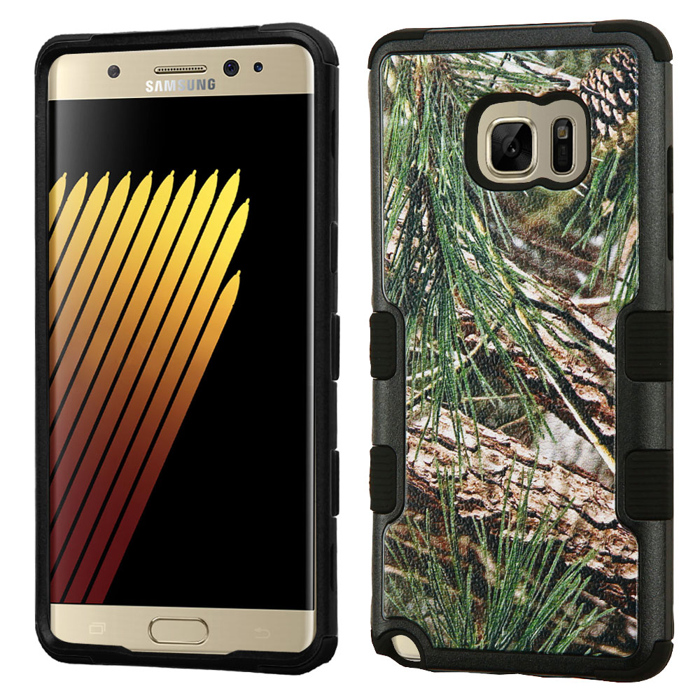 Samsung Galaxy Note 7 Case, TUFF Hybrid Dual Layer Hard Case on Silicone Skin [Pine Tree-Hunting Camouflage]