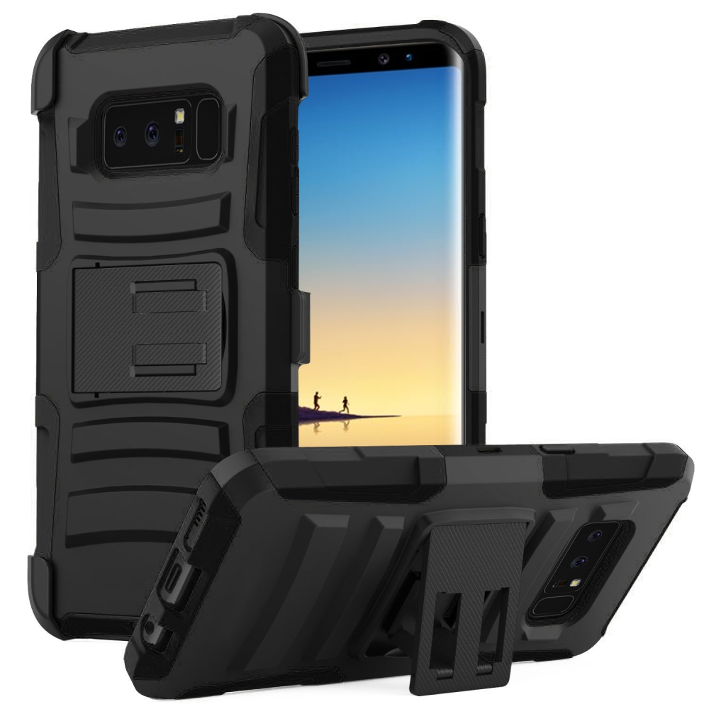 Samsung Galaxy Note 8 Holster Case, [REDshield] Dual Layer [Black] Hard Case w/ Kickstand on [Black] Silicone Skin Case w/ Holster