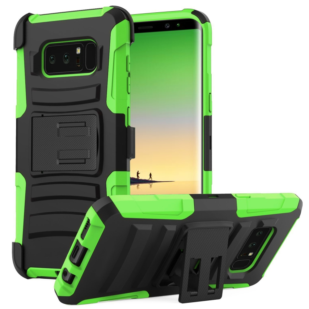 Samsung Galaxy Note 8 Holster Case, [REDshield] Dual Layer [Neon Green] Hard Case w/ Kickstand on [Black] Silicone Skin Case w/ Holster