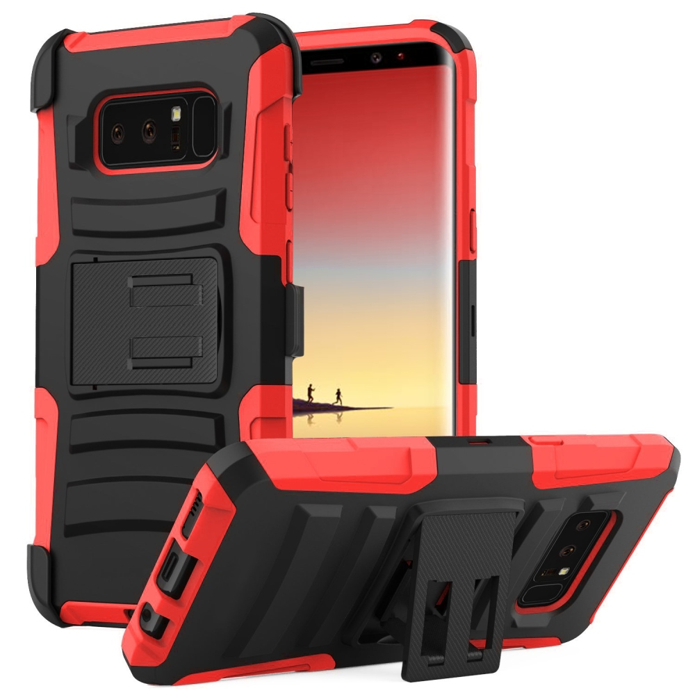 Samsung Galaxy Note 8 Holster Case, [REDshield] Dual Layer [Black] Hard Case w/ Kickstand on [Red] Silicone Skin Case w/ Holster