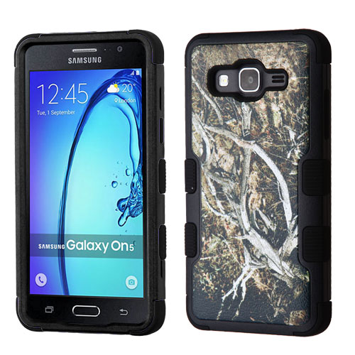 Samsung Galaxy On5 Case, TUFF Hybrid Dual Layer Hard Case on Silicone Skin [Tree Branches on Black]
