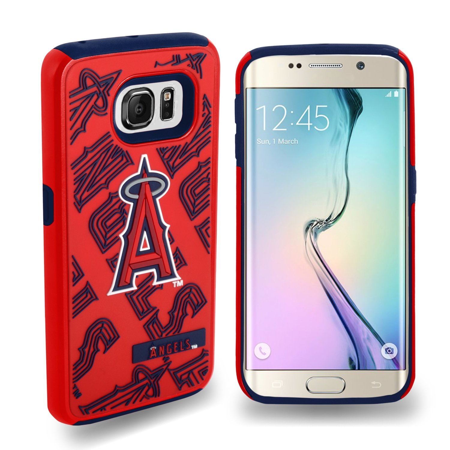 Samsung Galaxy S6 Edge MLB Case, Slim Dual layer Hybrid Hard Case on TPU Case [Los Angeles Angels]
