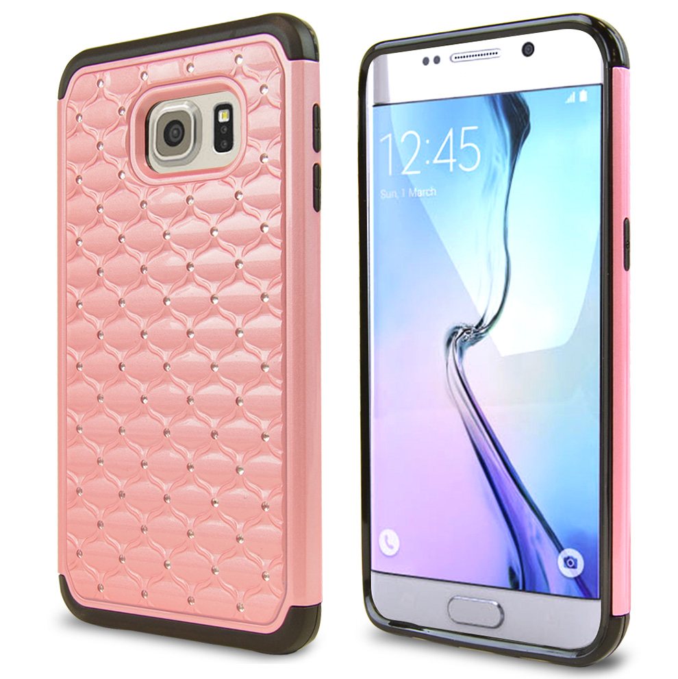 Samsung Galaxy S6 Edge Plus,  [Baby Pink/ Black Bling]  Supreme Protection Plastic on Silicone Dual Layer Hybrid Case