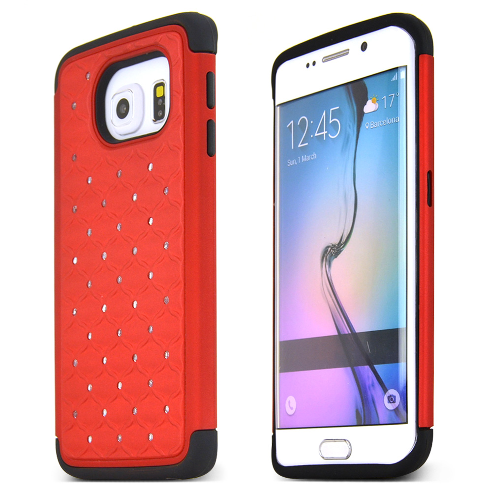Samsung Galaxy S6 Edge Case,  [Red Bling]  Heavy Duty Hard Plastic on Silicone Dual Layer Hybrid Case