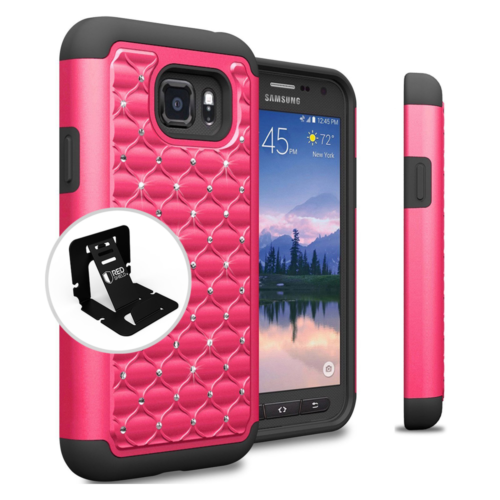 Samsung Galaxy S7 Active Case, REDshield [Hot Pink Bling] Heavy Duty Hard Plastic on Silicone Dual Layer Hybrid Case with Travel Wallet Phone Stand