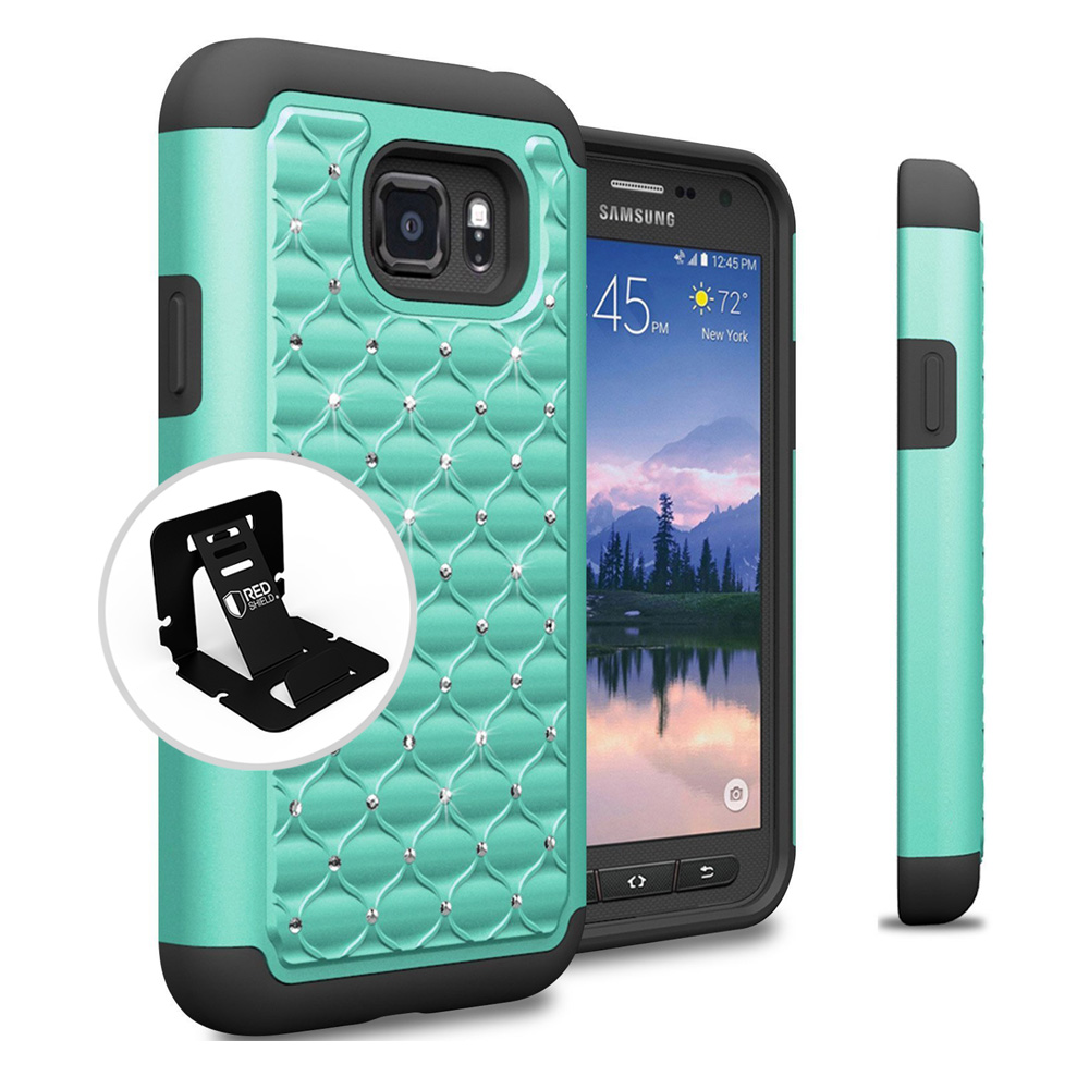 Samsung Galaxy S7 Active Case, REDshield [Mint Bling] Heavy Duty Hard Plastic on Silicone Dual Layer Hybrid Case with Travel Wallet Phone Stand