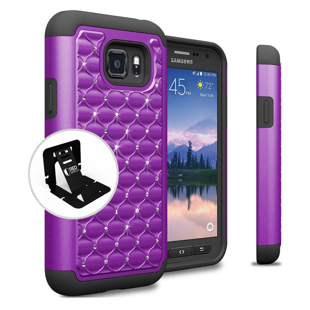 Samsung Galaxy S7 Active Case, REDshield [Purple Bling] Heavy Duty Hard Plastic on Silicone Dual Layer Hybrid Case with Travel Wallet Phone Stand