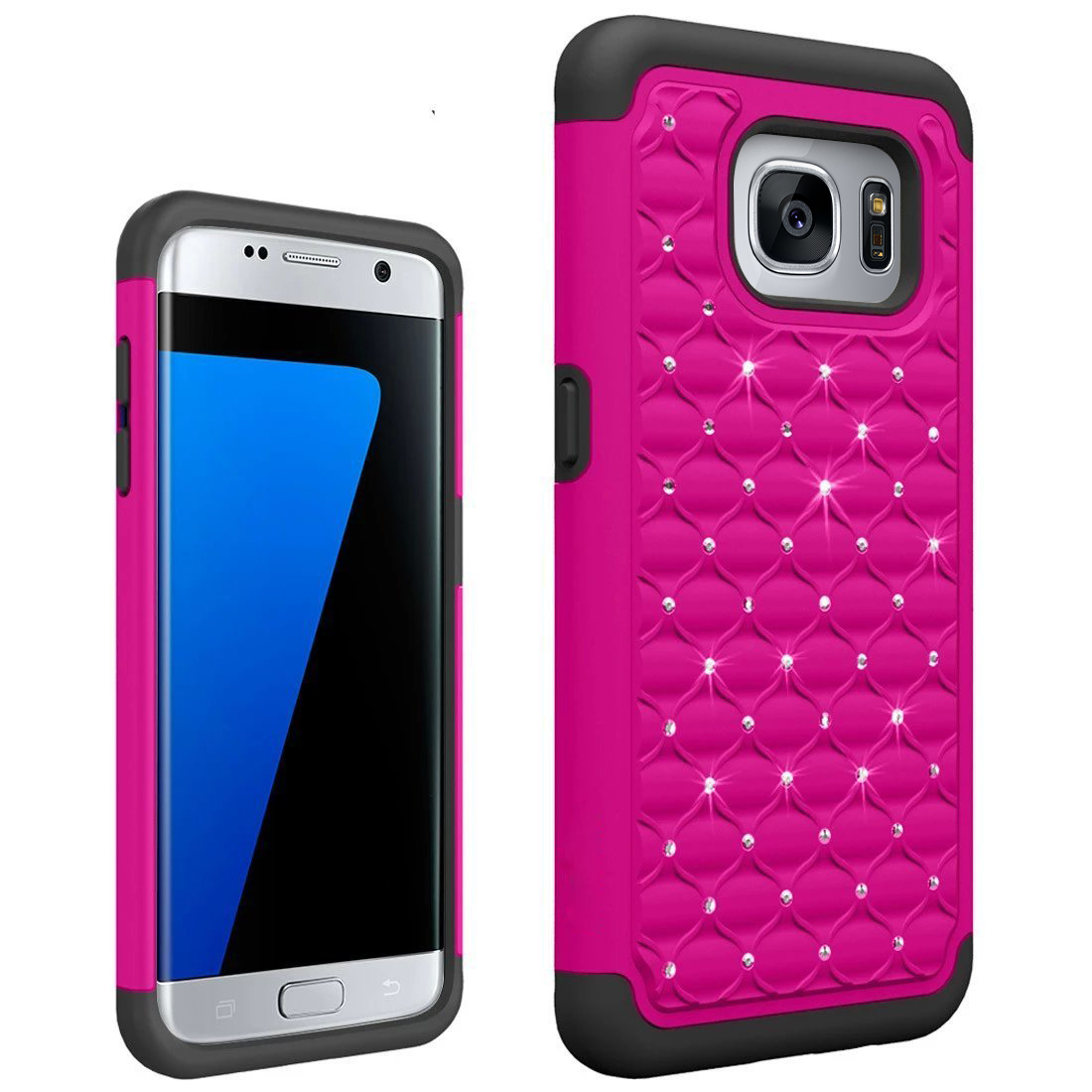 Samsung Galaxy S7 Edge Bling Case, Redshield [Hot Pink/ Black]  Supreme Protection Bling Plastic on Silicone Dual Layer Hybrid Case with Travel Wallet Phone Stand