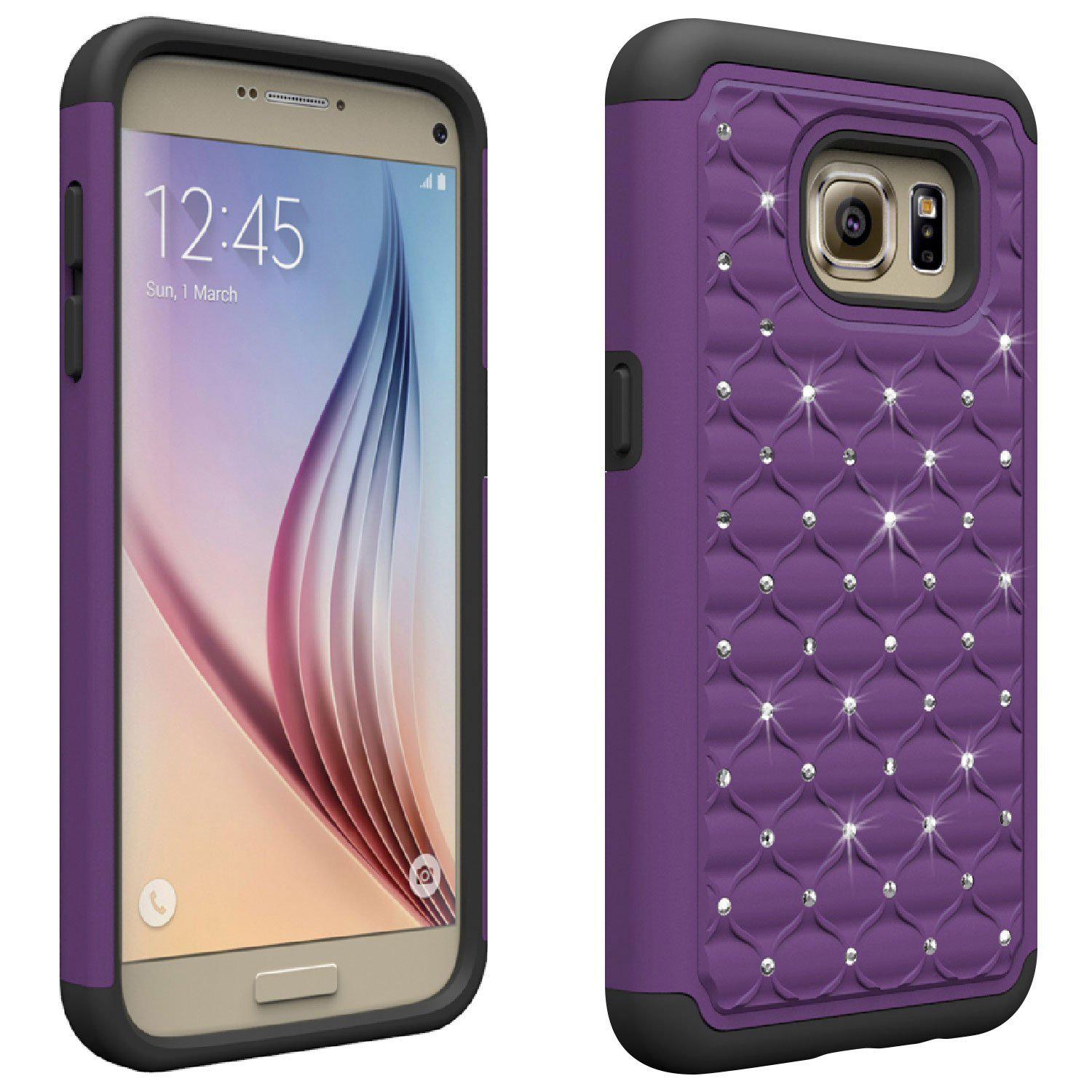 Samsung Galaxy S7 Bling Case, Redshield [Purple/ Black]  Supreme Protection Bling Plastic on Silicone Dual Layer Hybrid Case with Travel Wallet Phone Stand