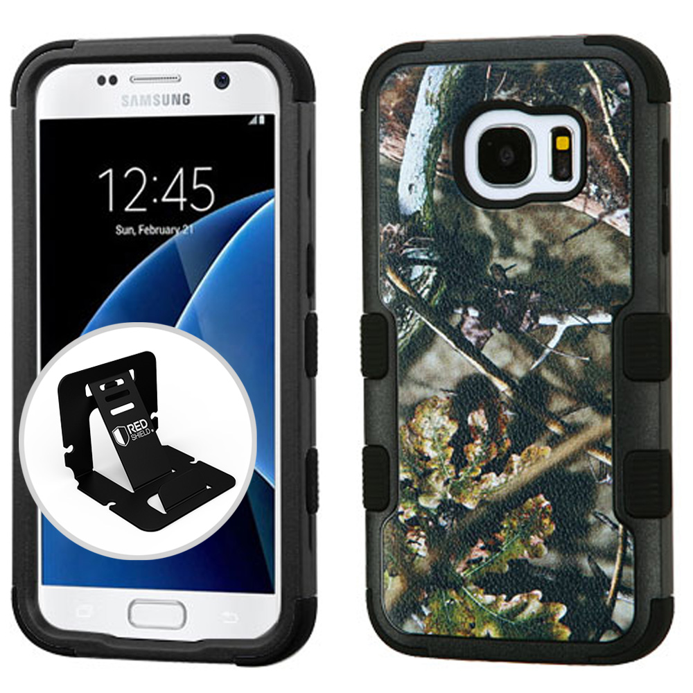 Samsung Galaxy S7 Case, TUFF Hybrid Dual Layer Hard Case on Silicone Skin [English Oak - Hunting Camouflage] with Travel Wallet Phone Stand