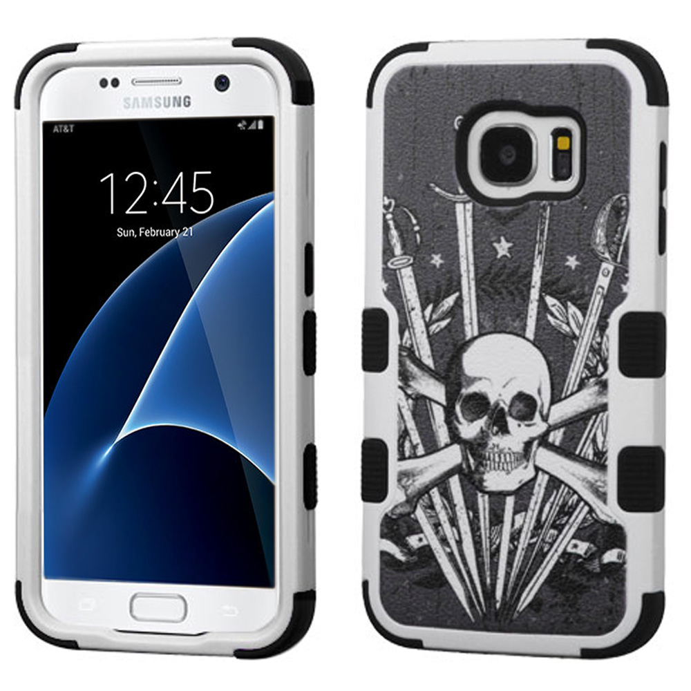 Samsung Galaxy S7 Case, TUFF Hybrid Dual Layer Hard Case on Silicone Skin [Skulls & Swords] with Travel Wallet Phone Stand