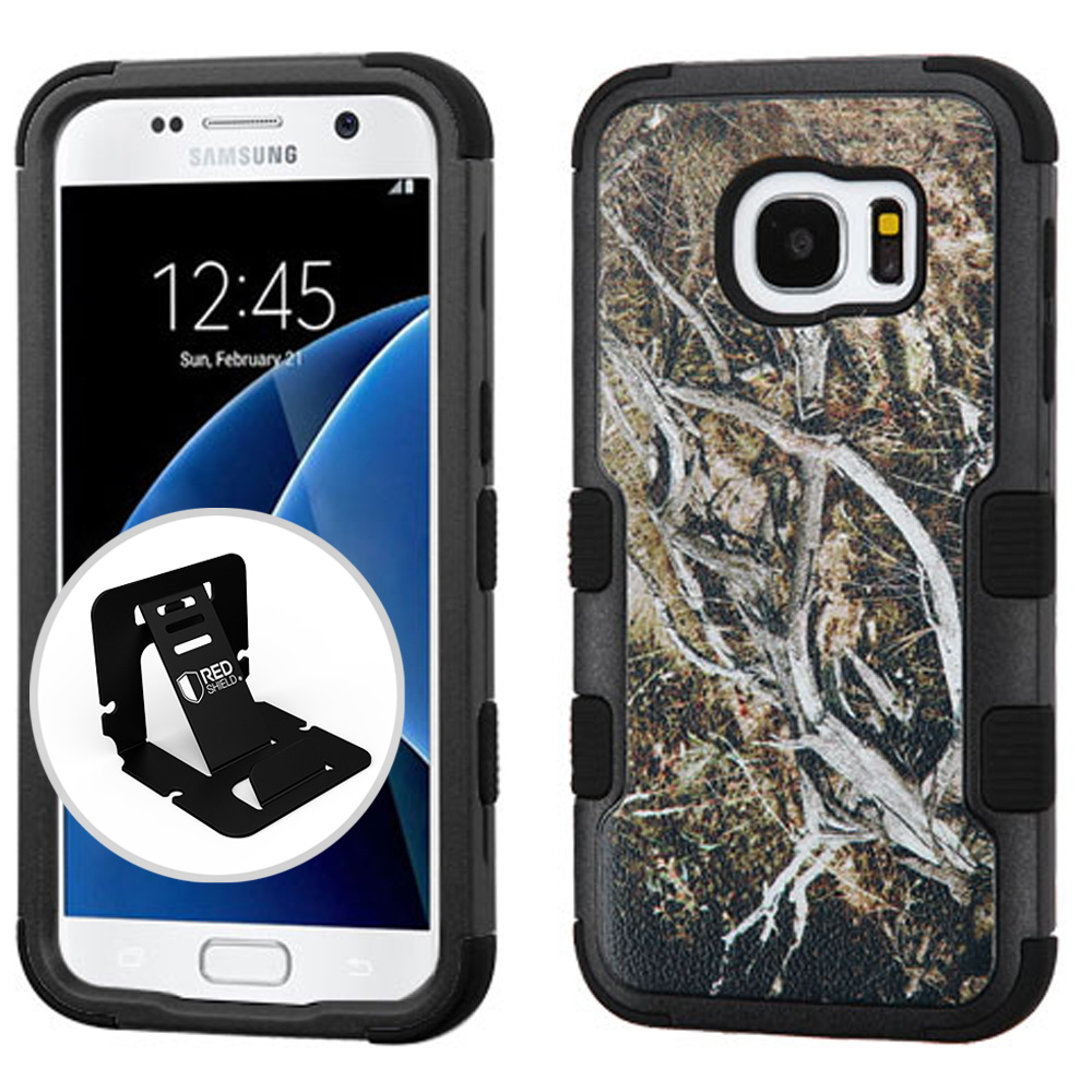 Samsung Galaxy S7 Case, TUFF Hybrid Dual Layer Hard Case on Silicone Skin [Tree Branches on Black] with Travel Wallet Phone Stand