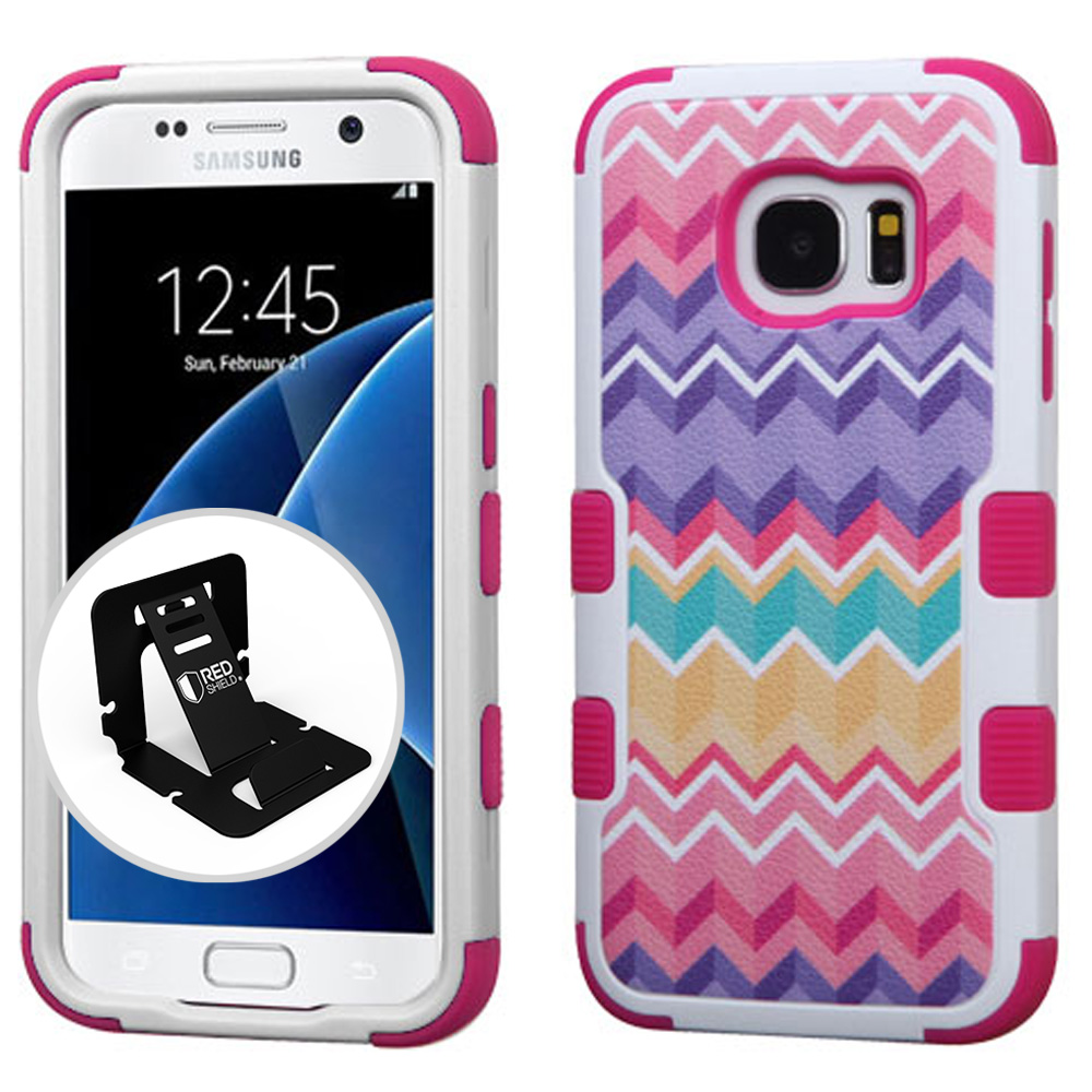 Samsung Galaxy S7 Case, TUFF Hybrid Dual Layer Hard Case on Silicone Skin [Camo Wave Chevron] with Travel Wallet Phone Stand