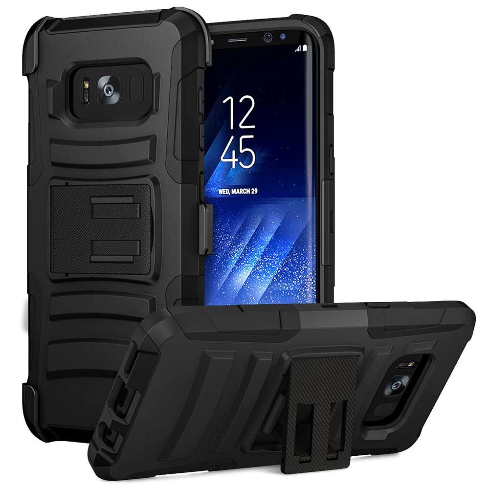 Samsung Galaxy S8 Active Holster Case, [REDshield] Dual Layer [Black] Hard Case w/ Kickstand on [Black] Silicone Skin Case w/ Holster