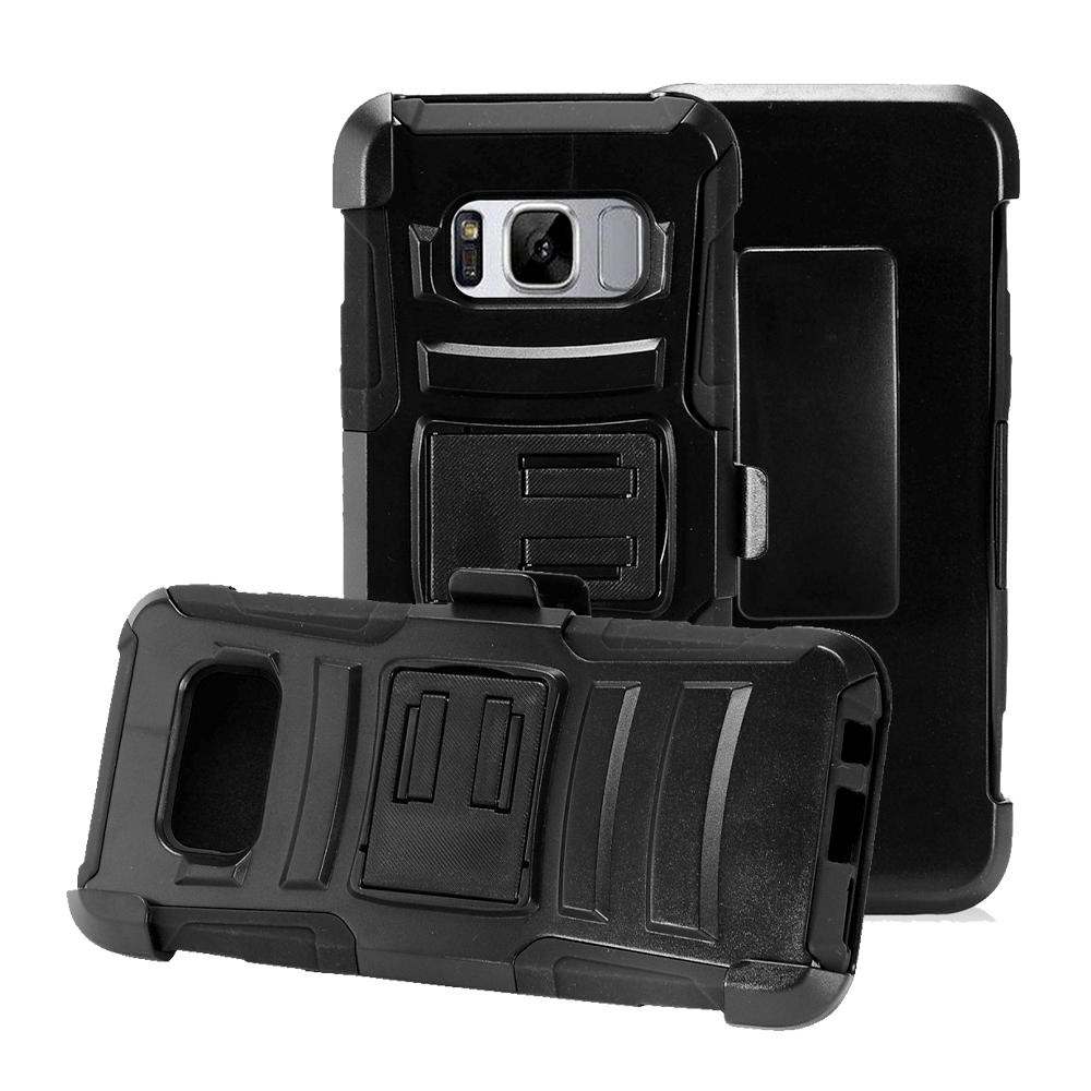 Samsung Galaxy S8 Holster Case, [REDshield] Dual Layer Hard Case w/ Kickstand on Silicone Skin Case w/ Holster [Black] with Travel Wallet Phone Stand