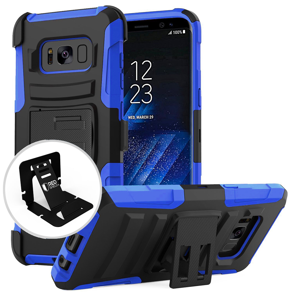 Samsung Galaxy S8 Holster Case, [REDshield] Dual Layer Hard Case w/ Kickstand on Silicone Skin Case w/ Holster [Blue/ Black] with Travel Wallet Phone Stand