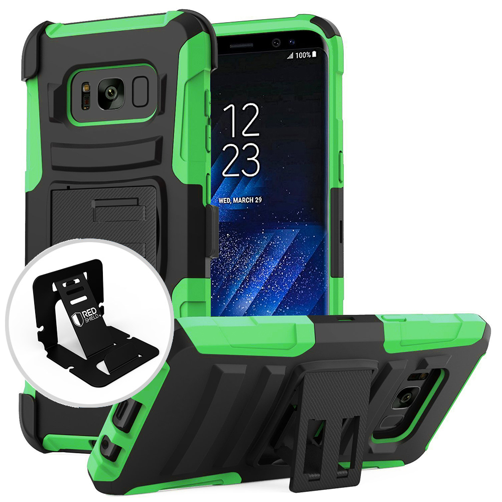 Samsung Galaxy S8 Holster Case, [REDshield] Dual Layer Hard Case w/ Kickstand on Silicone Skin Case w/ Holster [Neon Green/ Black] with Travel Wallet Phone Stand