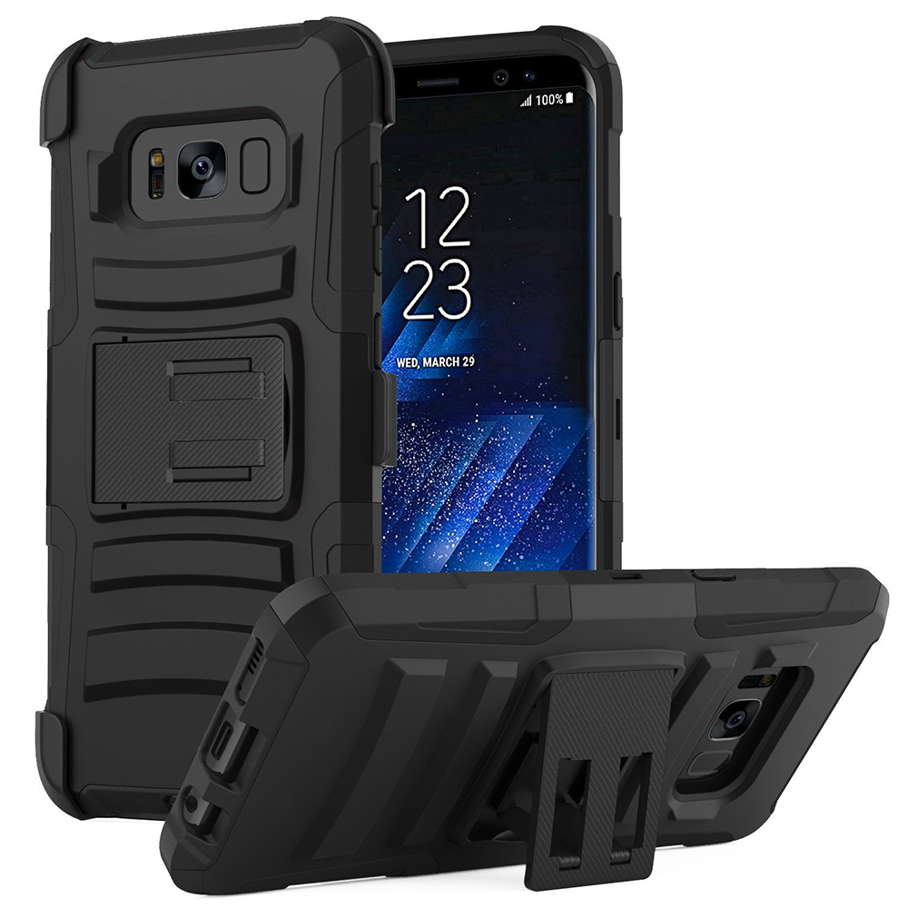Samsung Galaxy S8 Plus Heavy Duty Case, Dual Layer Hard Case w/ Kickstand on Silicone Skin Case w/ Holster [Black] with Travel Wallet Phone Stand