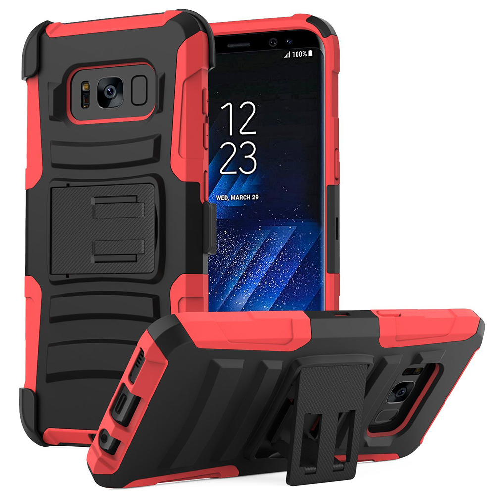 Samsung Galaxy S8 Plus Heavy Duty Case, Dual Layer Hard Case w/ Kickstand on Silicone Skin Case w/ Holster [Red/ Black] with Travel Wallet Phone Stand