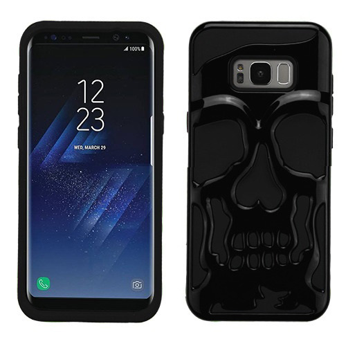 Samsung Galaxy S8 Plus Skull Case, Hybrid Dual Layer Hard Case on Silicone Skin [Black] with Travel Wallet Phone Stand