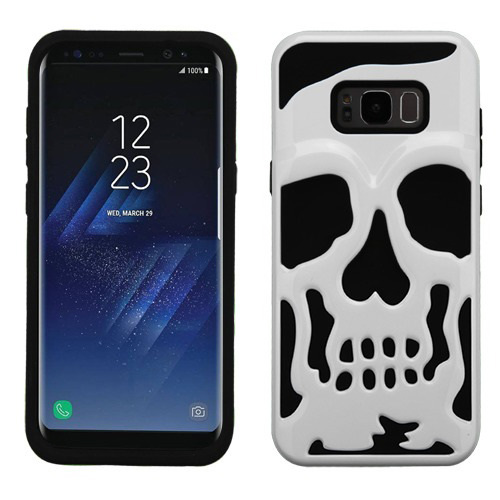 Samsung Galaxy S8 Plus Skull Case, Hybrid Dual Layer Hard Case on Silicone Skin [White] with Travel Wallet Phone Stand