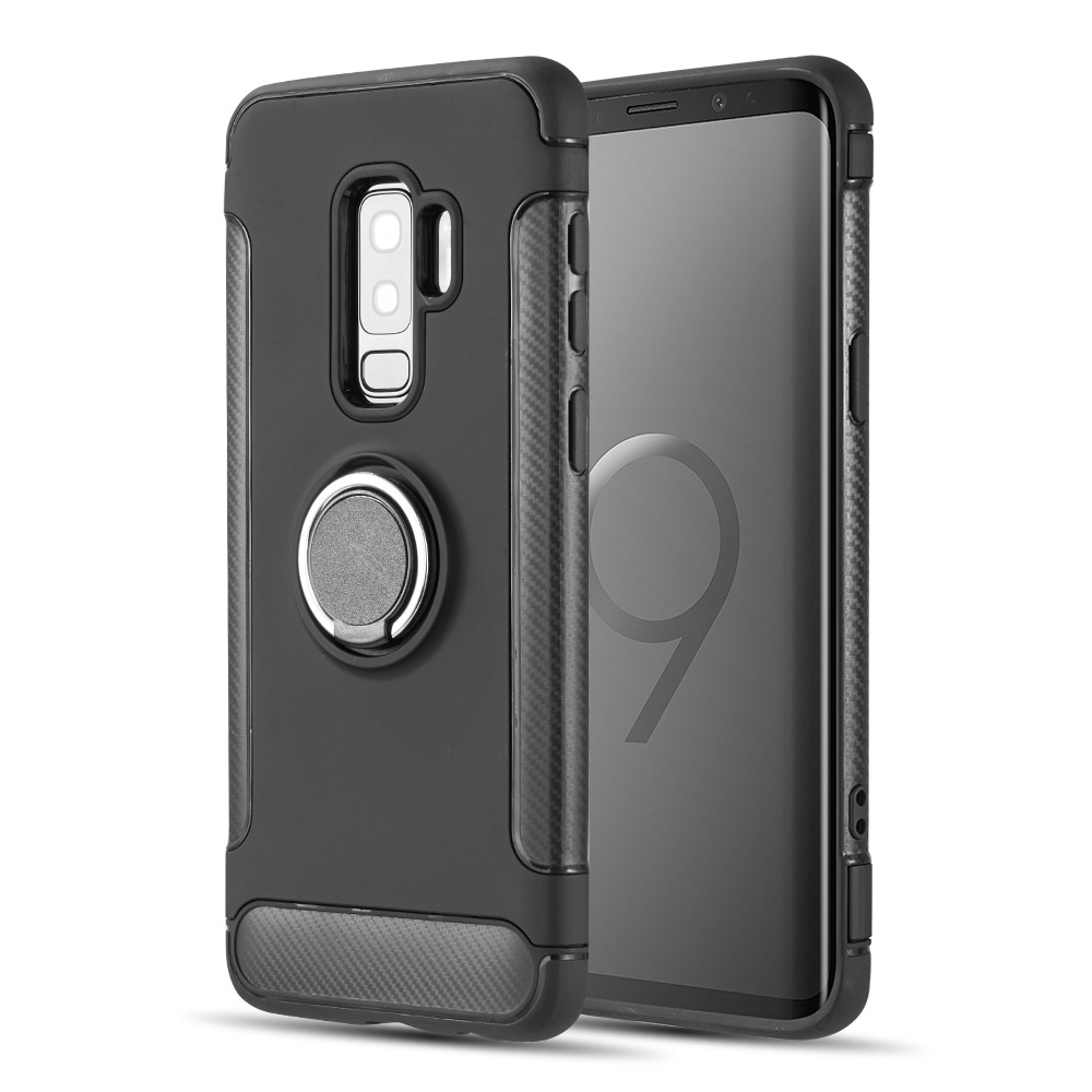 [Samsung Galaxy S9 PLUS] Redshield Carbon Edge Sports Hybrid Case with Circo Magstand [Black]
