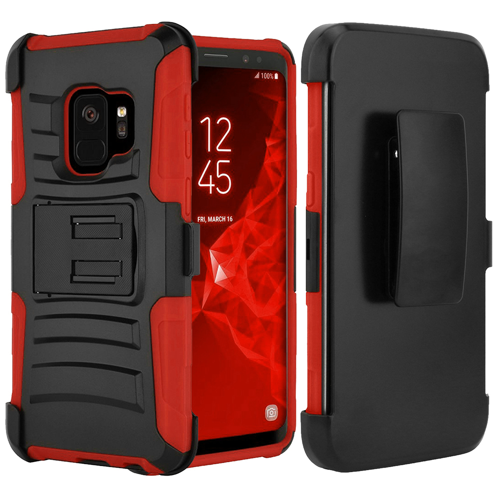 [SAMSUNG GALAXY S9] Holster Case, REDshield [Red/Black] Supreme Protection Hard Plastic on Silicone Skin Dual Layer Hybrid Case