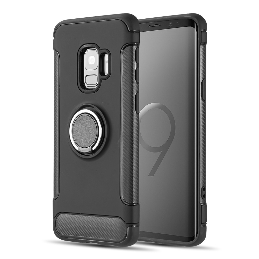 [Samsung Galaxy S9] Redshield Carbon Edge Sports Hybrid Case with Circo Magstand [Black]