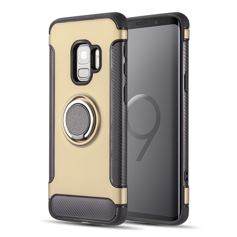 [Samsung Galaxy S9] Redshield Carbon Edge Sports Hybrid Case with Circo Magstand [Gold]