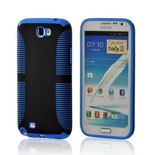 Black Hard Back on Blue Crystal Silicone Case for Samsung Galaxy Note 2