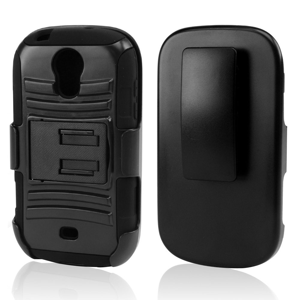 Black Hard Case w/ Kickstand on Black Silicone Skin Case w/ Holster for Samsung Galaxy Light