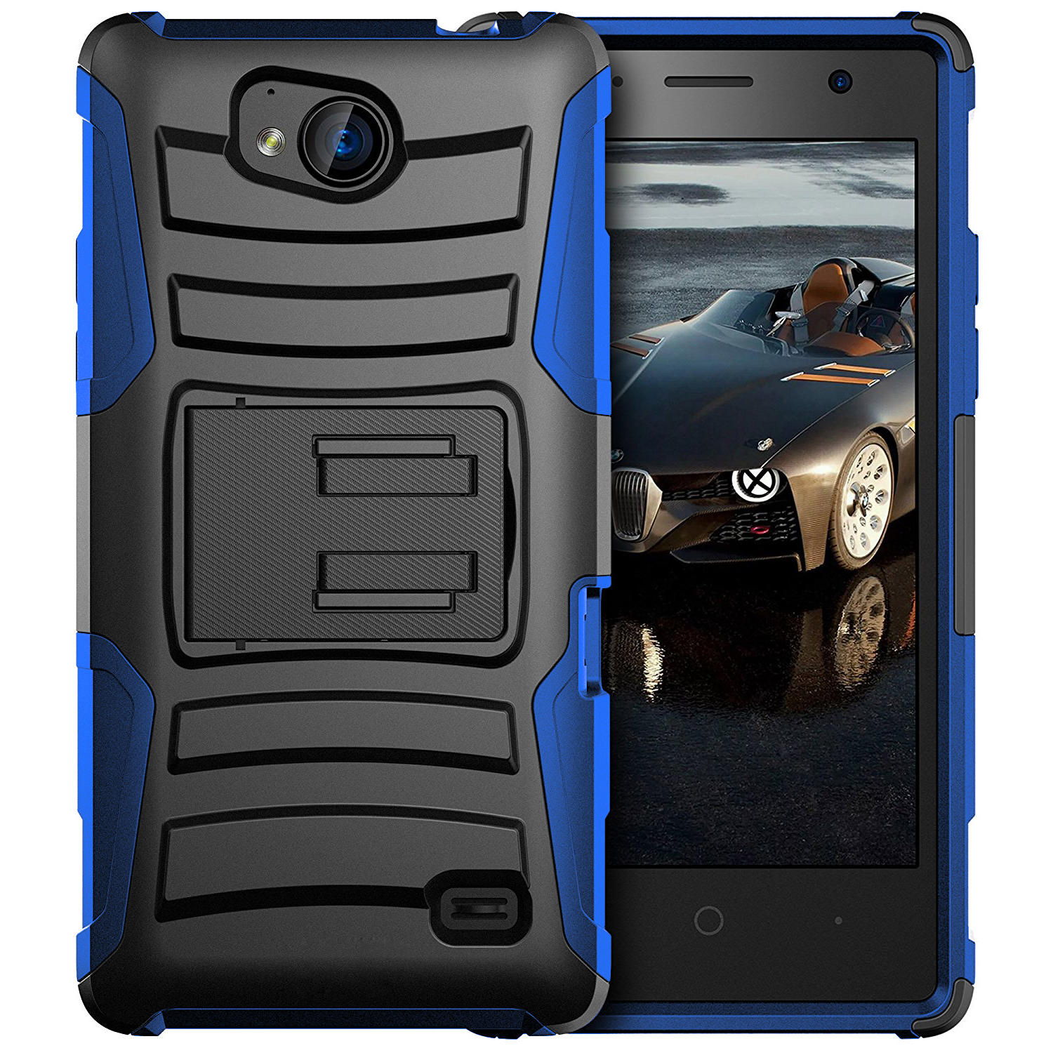 [ZTE Tempo] Holster Case, REDshield [Blue/ Black] Supreme Protection Hard Plastic on Silicone Skin Dual Layer Hybrid Case with Travel Wallet Phone Stand