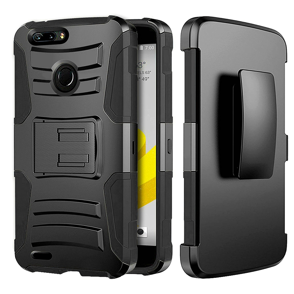 [ZTE Blade ZMax/ Sequoia/ Z982] Holster Case, REDshield [Black] Supreme Protection Hard Plastic on Silicone Skin Dual Layer Hybrid Case