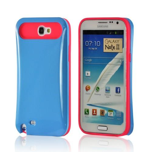 Dark Sky Blue Hard Case on Hot Pink Silicone Skin Fusion Case for Samsung Galaxy Note 2