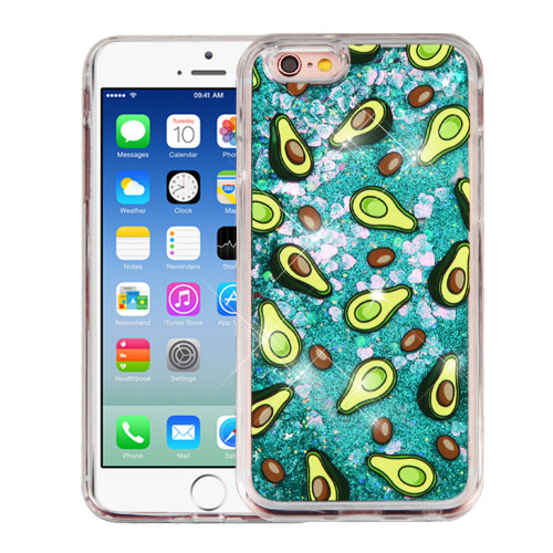Apple iPhone 6 / 6S Case, Slim Crystal Back Bumper Case [Drop Protection] [Avocados & Green w/ Hearts] Quicksand Glitter Flexible Border Case