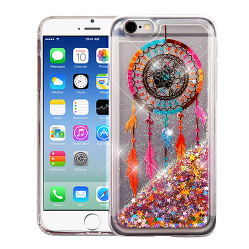 Apple iPhone 6 / 6S Case, Slim Crystal Back Bumper Case [Drop Protection] [Dreamcatcher & Gold Stars] Quicksand Glitter Flexible Border Case
