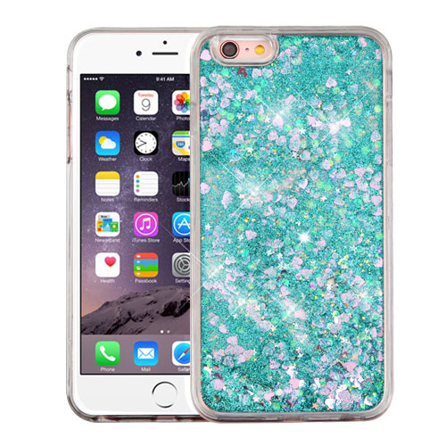 Apple iPhone 6 Plus / 6S Plus Case, Slim Crystal Back Bumper Case [Drop Protection] [Green & Hearts] Quicksand Glitter Flexible Border Case