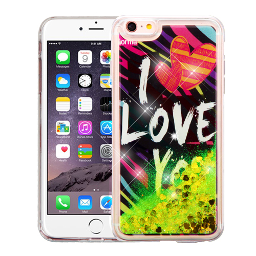 Made for Apple iPhone 6 Plus / 6S Plus (5.5 inch) Case, Slim Crystal Back Bumper Case [Drop Protection] [I Love You Gold Hearts] Quicksand Glitter Flexible Border Case by Redshield