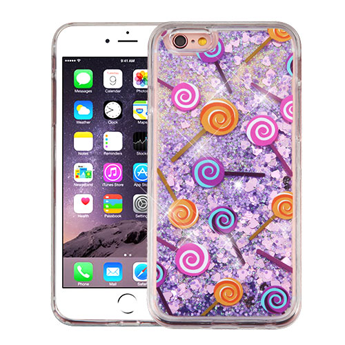 Apple iPhone 6 Plus / 6S Plus Case, Slim Crystal Back Bumper Case [Drop Protection] [Lollipops & Purple Hearts] Quicksand Glitter Flexible Border Case