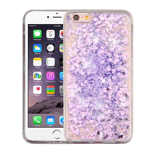 Apple iPhone 6 Plus / 6S Plus Case, Slim Crystal Back Bumper Case [Drop Protection] [Purple Hearts] Quicksand Glitter Flexible Border Case