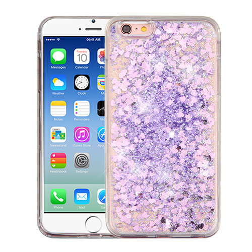 Apple iPhone 6 / 6S Case, Slim Crystal Back Bumper Case [Drop Protection] [Purple Hearts] Quicksand Glitter Flexible Border Case