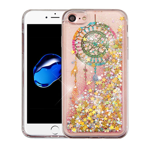 Apple iPhone 8 / 7 / 6S / 6 Case, Slim Crystal Back Bumper Case [Drop Protection] [Dreamcatcher & Gold Stars] Quicksand Glitter Flexible Border Case with Travel Wallet Phone Stand