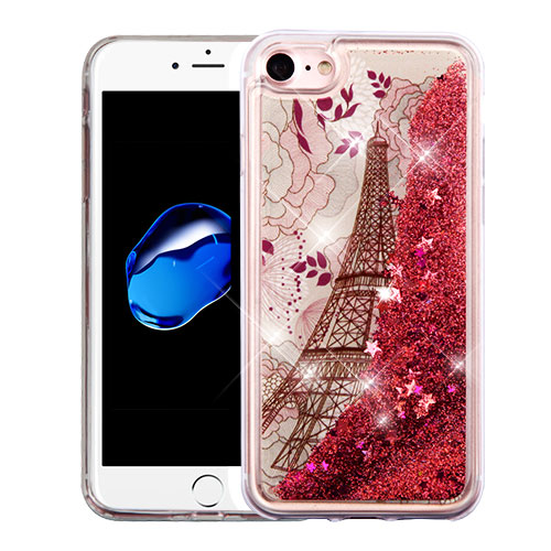 Apple iPhone 8 / 7 / 6S / 6 Case, Slim Crystal Back Bumper Case [Drop Protection] [Eiffel Tower & Rose Gold Stars] Quicksand Glitter Flexible Border Case with Travel Wallet Phone Stand
