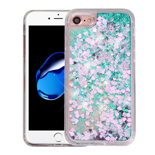Apple iPhone 8 / 7 / 6S / 6 Case, Slim Crystal Back Bumper Case [Drop Protection] [Green & Hearts] Quicksand Glitter Flexible Border Case with Travel Wallet Phone Stand